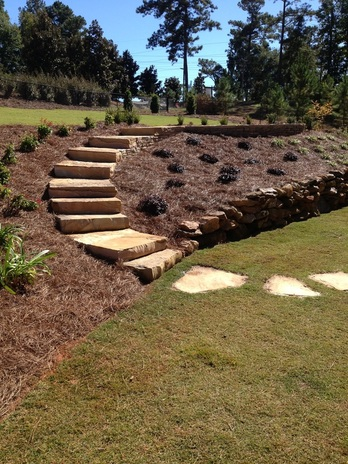 Flagstone patio, steps and stepping stones